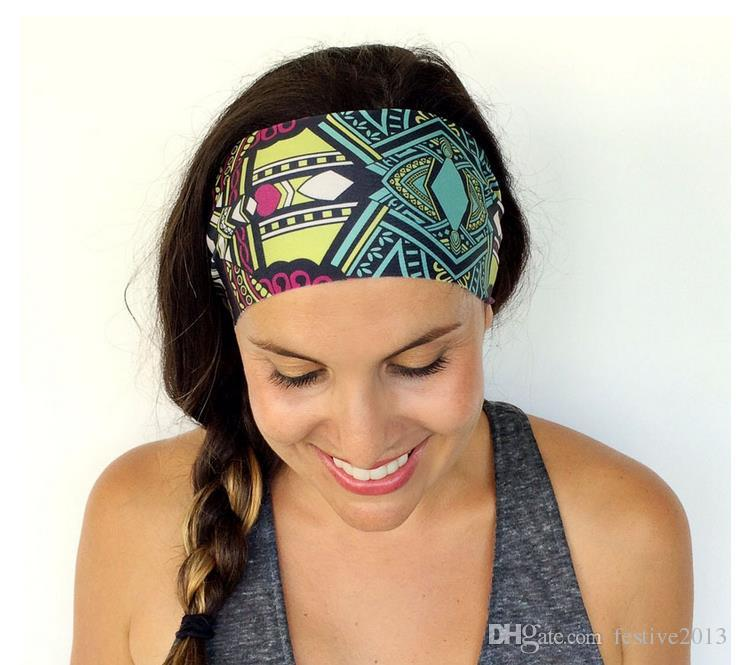 Floral Yoga Headband Cotton Bandana Women Sport Headband Stretchy ... 7ead929aaf
