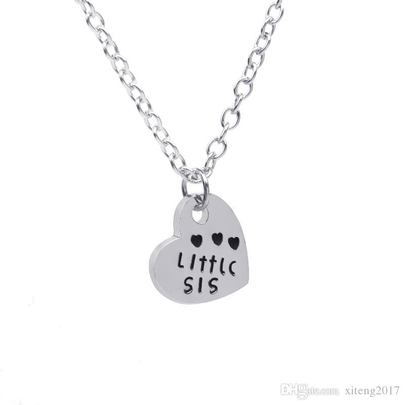 Jewelry Silver & Gold Colors Big Sis Middle Sis Little Sis Letter Heart Necklace Brief Gift Fashion New Style Sister Jewelry
