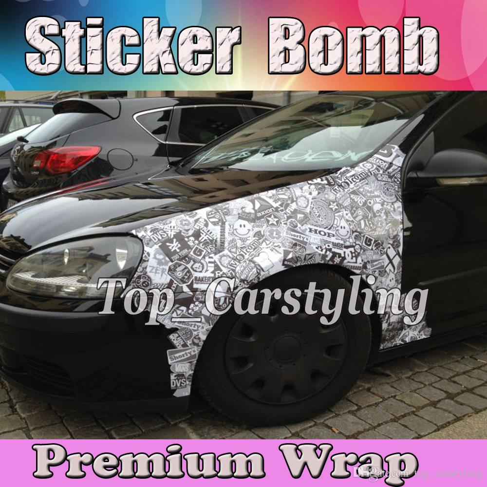 Black white stickerbomb vinyl film jdm sticker bomb vinyl sticker wrap with bubble free for motorcycle vehicle wraps size 1 52x10m 20m 30m stickerbomb