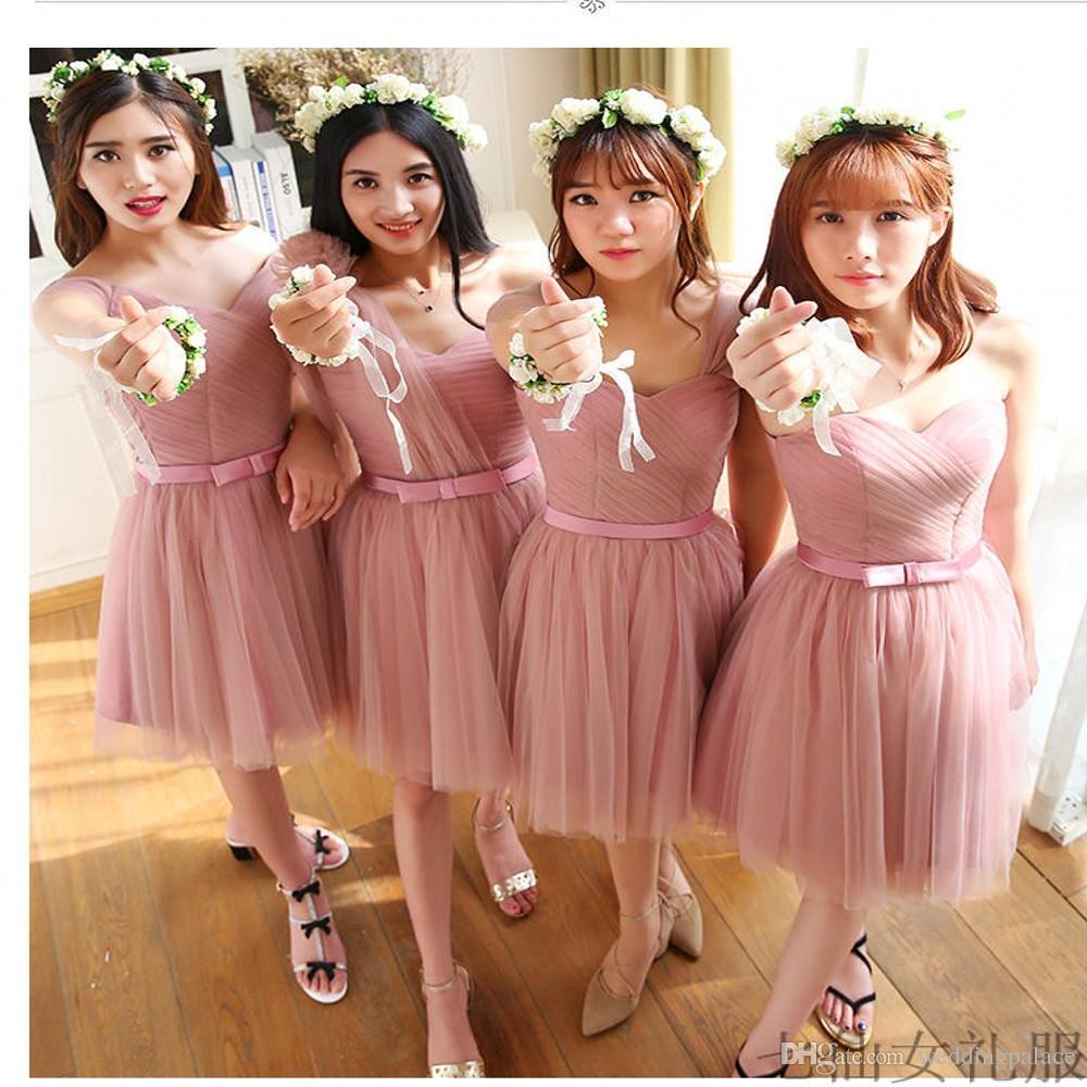 Disegno semplice di 4 diversi Style Junior vestiti da damigella tulle con fiocco in pizzo su indietro al ginocchio brevi promenade di sera dei vestiti da partito