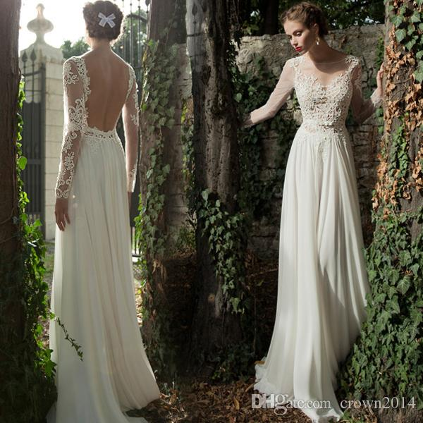 Illusion Long Sleeve Beach Lace Wedding Dresses 2017 Vintage Sheath