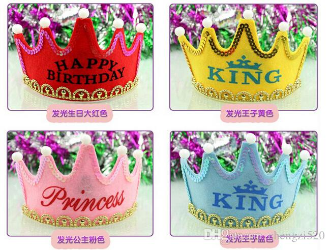 Nonluminous LED Luminous Glow Birthday Hat Cap Flashing Hair Accessory HairHoop Headband Baby Child Prince Princess Paper Crown