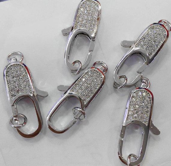 12pcs 12-25mm CZ Micro Pave Diamond paved Lobster Clasps Jewelry findings Micro Pave long oval Brass Conenctor beads