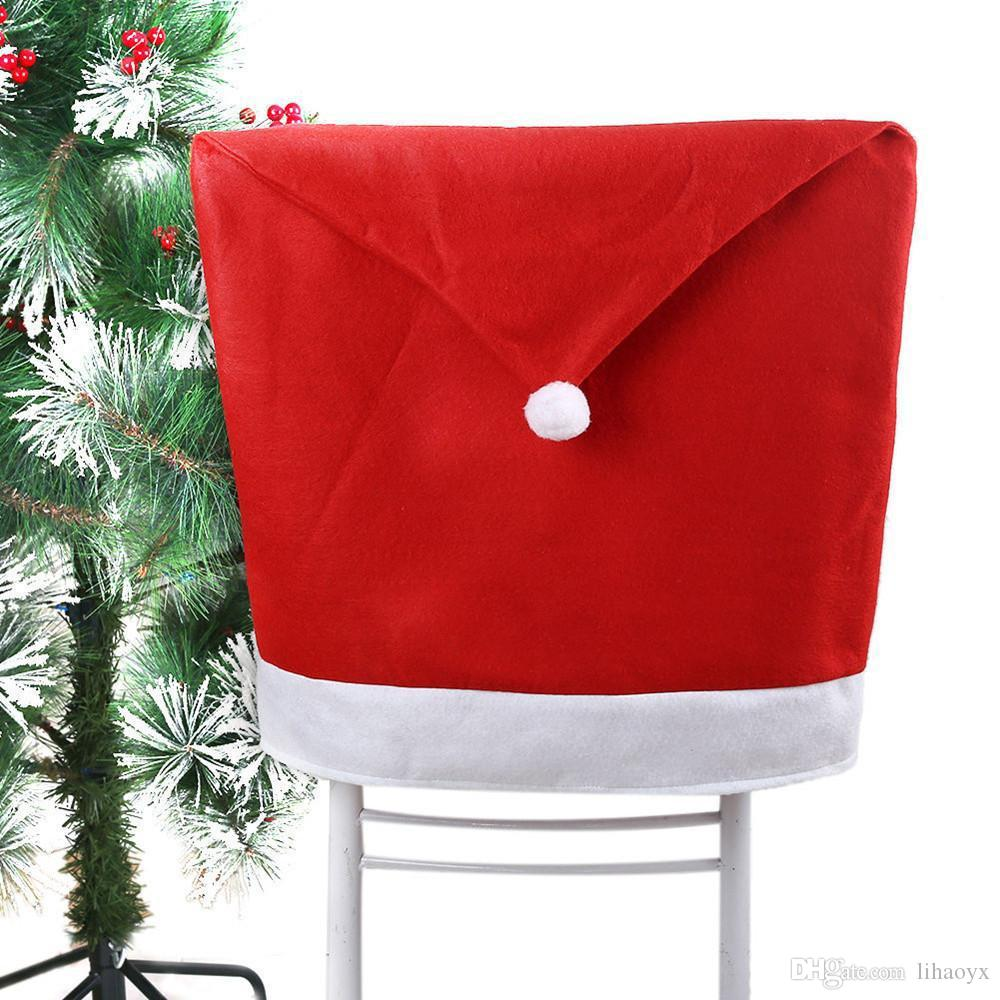 New Year Kitchen Decorations Christmas Santa Claus Hat Chair Covers Home Party Dining Table Decoration Christmas Gifts c226