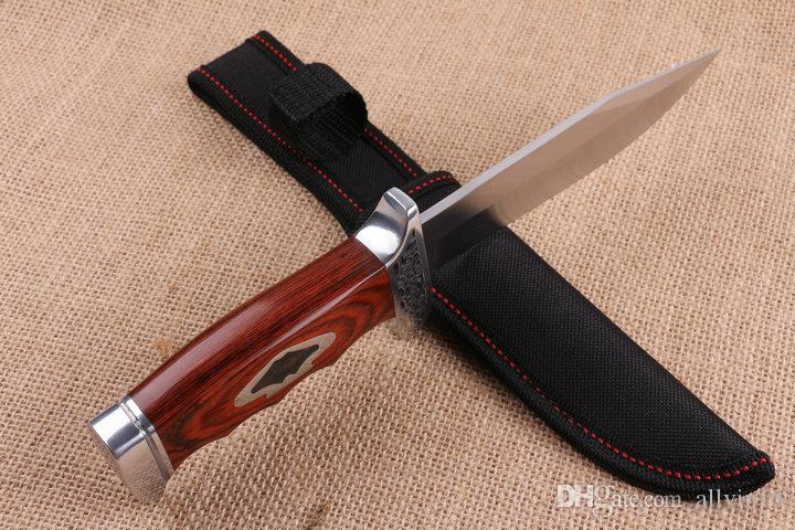 Wholesale C R KT 313B Survival Straight knife 5Cr15 58HRC Satin Blade Colorful Wood Handle Fixed blade knife Knives with Nylon sheath DH