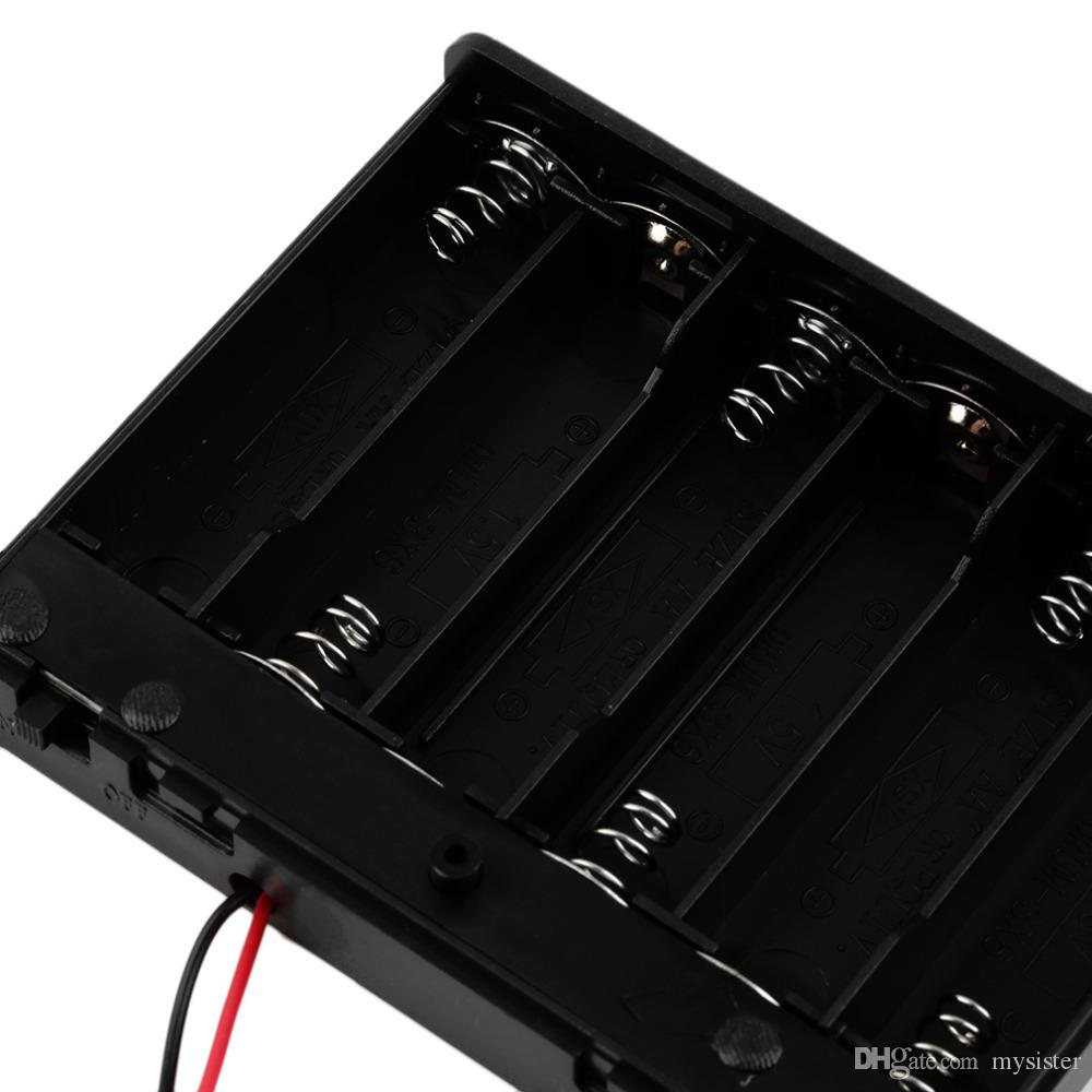 Wholesale Black Plastic 6 * AA Battery Storage Case Box Holder With Swith 150mm Wire Leads by DHL