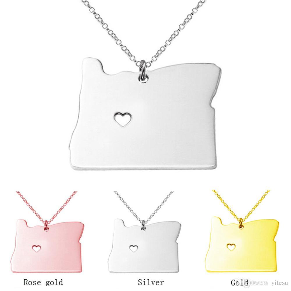 Mode 3 couleurs en acier inoxydable Carte Pendentif Oregon State Carte chaîne collier avec un coeur pour Anniversaire Cadeau Collier Femmes En Gros