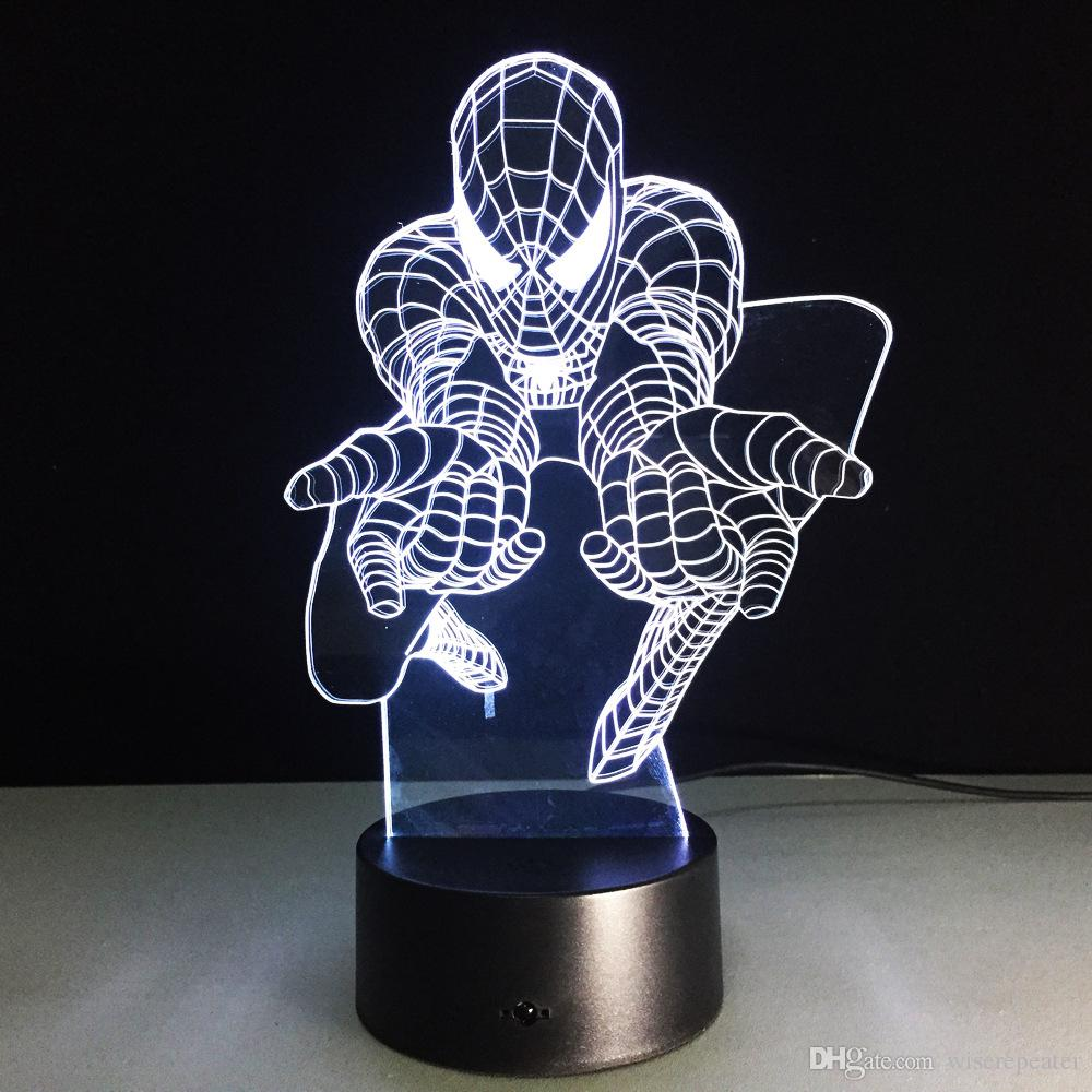 Spiderman Attact Style 3D Optical Illusion Lamp Night Light DC 5V USB Charging 5th Battery Wholesale Dropshipping
