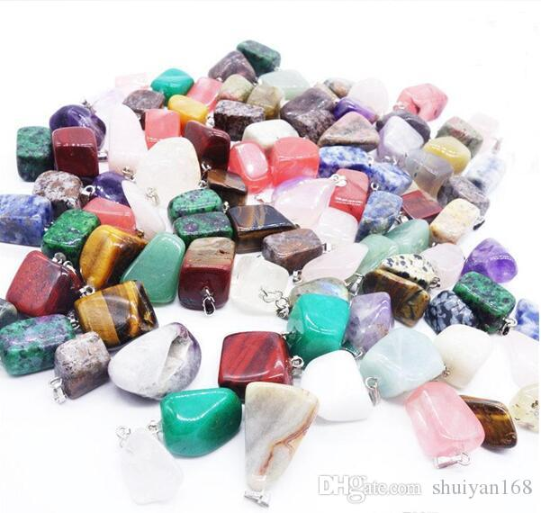 Pingentes de Pedra Natural Irregular Jade Pedra Natural Pingente de Colar de Ágata Pedra De Quartzo Opala Jóias NO CHAIN