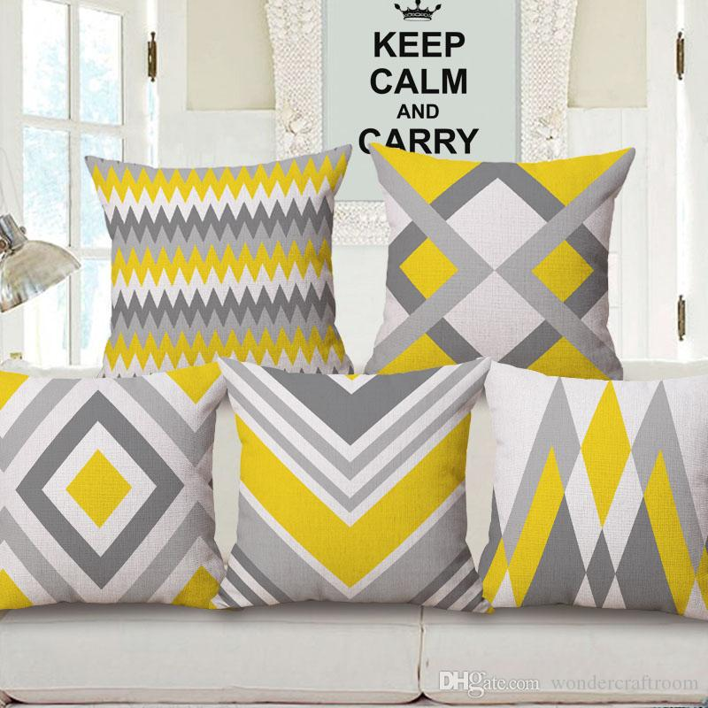 Yellow Grey Geometric Art Cushion Cover Chevron Stripes