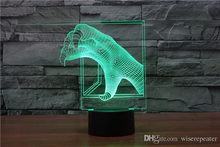 2017 Dragon Claws Style 3D Optical Night Light 9 LEDs Night Light DC 5V Factory Wholesale