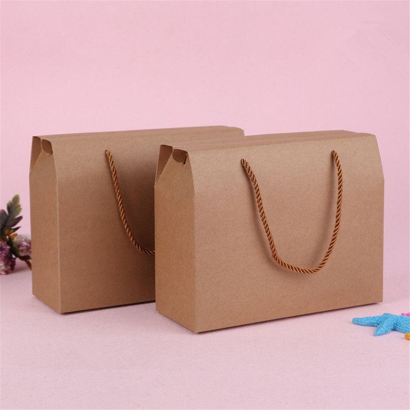 25cmx10cmx20cm 브라운 말린 음식 레드 날짜 너트 과일 포장 상자 크래프트 종이 선물 손잡이 상자 도매 LZ0641