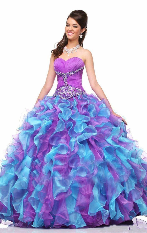 Colorfull Sweet 16 Quinceanera Suknie 2018 z koralikami Cekiny Ball Suknia Organza Vestidos De Longo Purple i Blue Formal Party Suknie