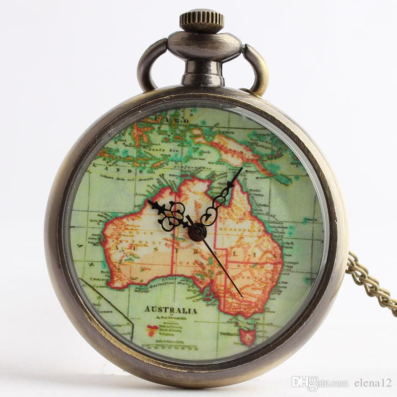 ancient australia map pendant pocket watch necklaces with chain fob locket quartz watch clocks women fashion jewelry christmas gift 230197 old fashioned
