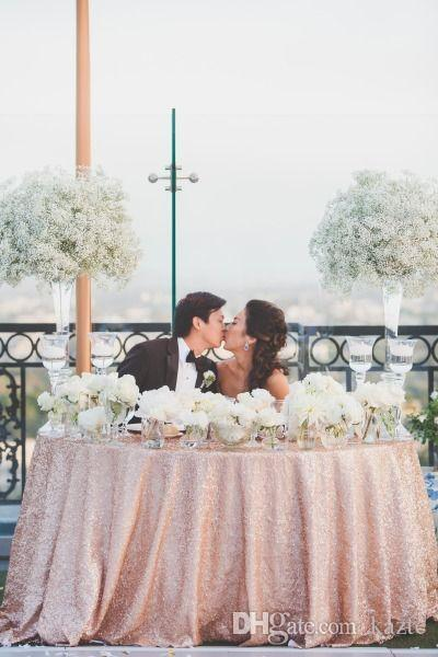 Rose Gold Sequin Table Cloth Covered Pub Tables And Sequined Table