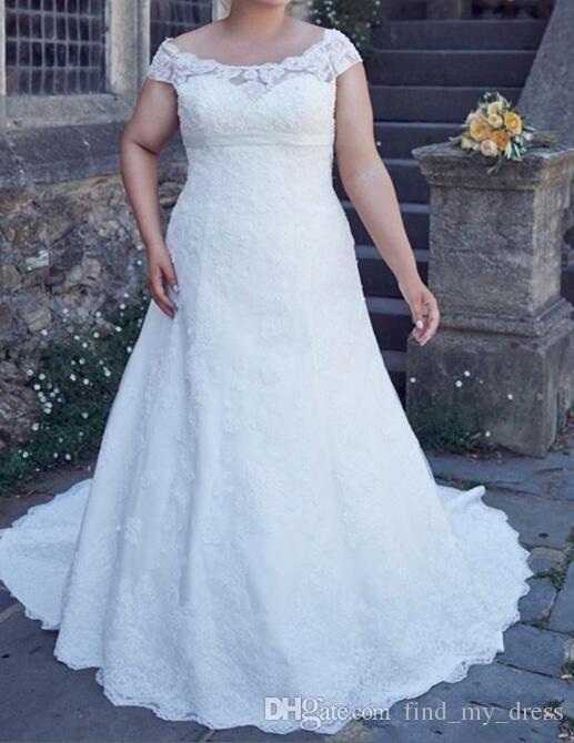 New Plus Size Wedding Dress Cap Sleeve Scoop Neck Full Lace Empire Waistline A Line Bridal Gowns Lace up Back Custom Size
