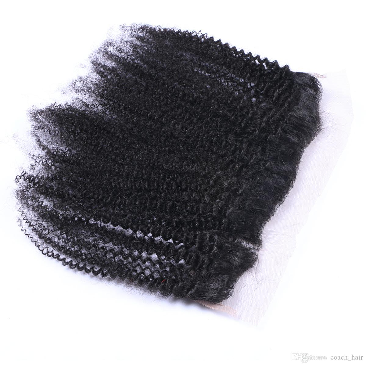 8A Ear To Ear Afro Kinky Curly Lace Frontal Closure 13X4 Afro Kinky Lace Frontal With Baby Hair Peruvian Virgin Human Hair