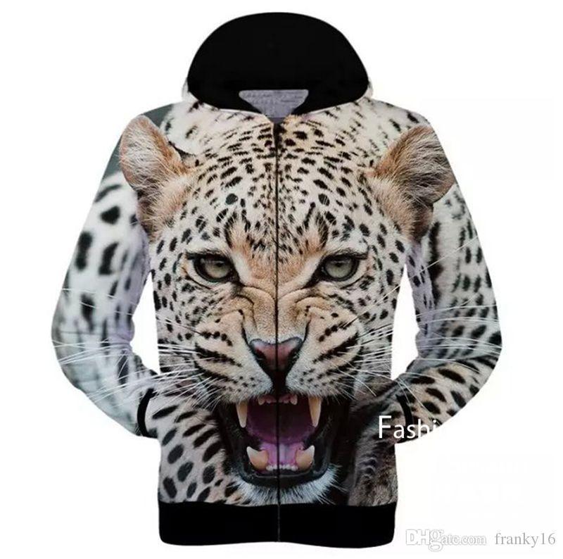 송료 무료 2017 년 가을 겨울 개 고양이 늑대 레오파드 호랑이 원숭이 이글 동물 3D Pringting Men Women Hoodies Sweatshirts