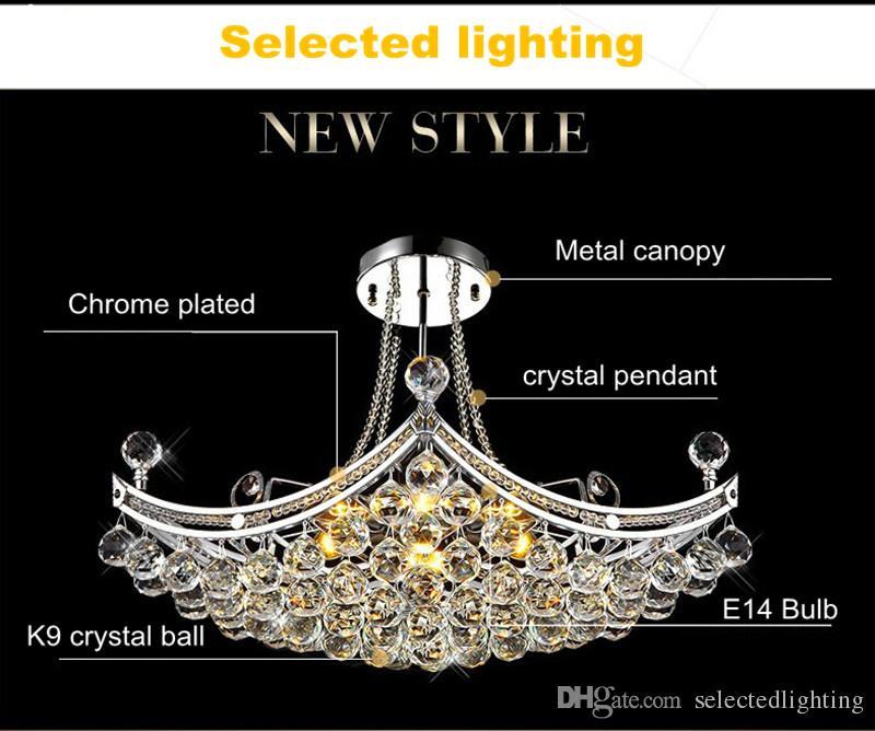 Lüks Büyük Kristal Avizeler Işık Fikstürü Temizle Kristal Cilası Lambası Tavan Tasarım Ev Deco Işık için