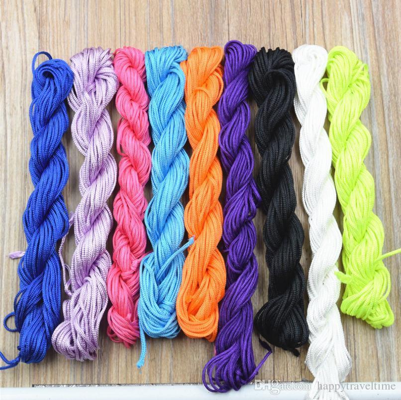 Toptan 5 rulo / 12 metre / rulo naylon halatlar 1,5 mm Shamballa makrome rattail Örgülü Knot Boncuk String Takı DIY Bulguları