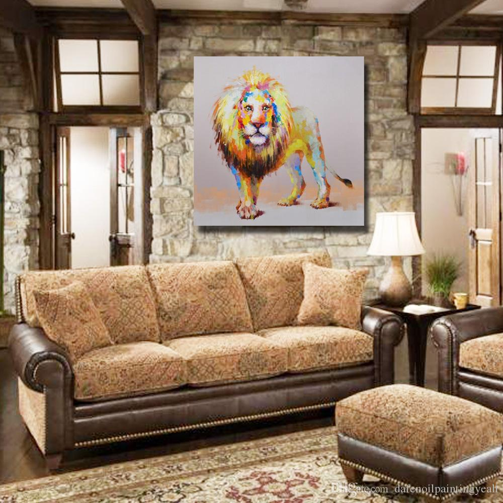 Modern Lion Painting for Living Room Wall Abstract Pictures on Canvas Hand Painted Animal Oil Painting No Framed