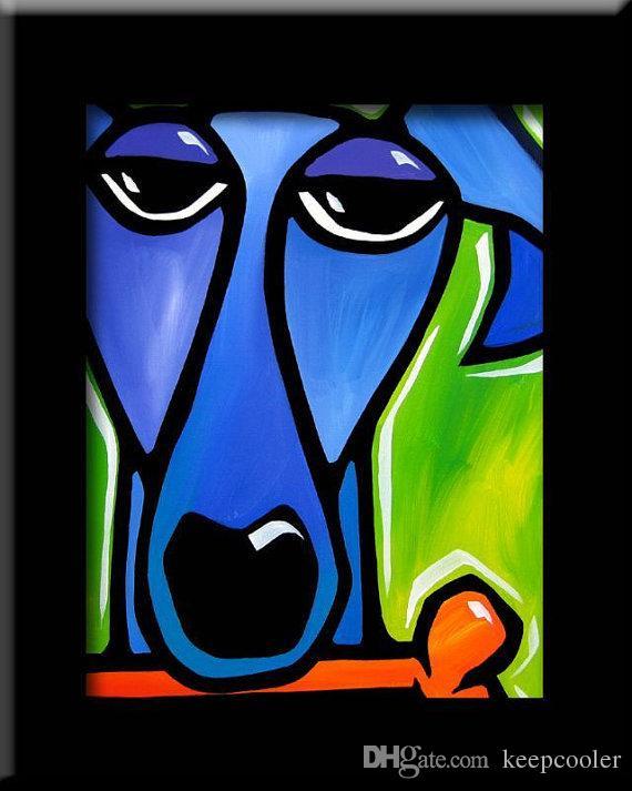 Livraison gratuite animaux à la main peintures sur toile pop mur coloré Art pour mur décor moderne abstrait chiens peintures à l'huile pour salon