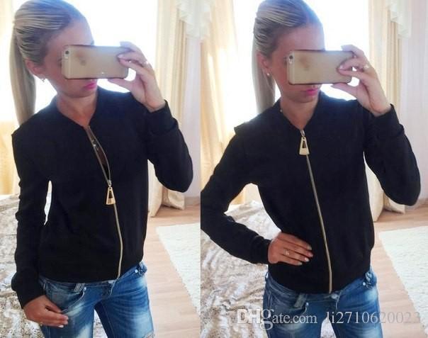 Kadın Ceket Ilkbahar Ve Sonbahar 2016 Katı Uzun Kollu Yeni Moda Kadınlar Ceket Fermuar Kadın Giyim ceket