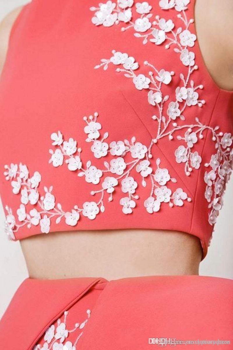 Einzigartiges design zwei stück arabisch abendkleider lange applique boot-ausschnitt meerjungfrau abendkleid vestido de festa pfirsich abendkleider