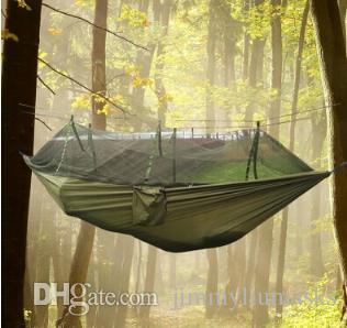 New Four Color Outdoor Portable High Strength Parachute Fabric Camping Hammock Hanging Bed With Mosquito Net
