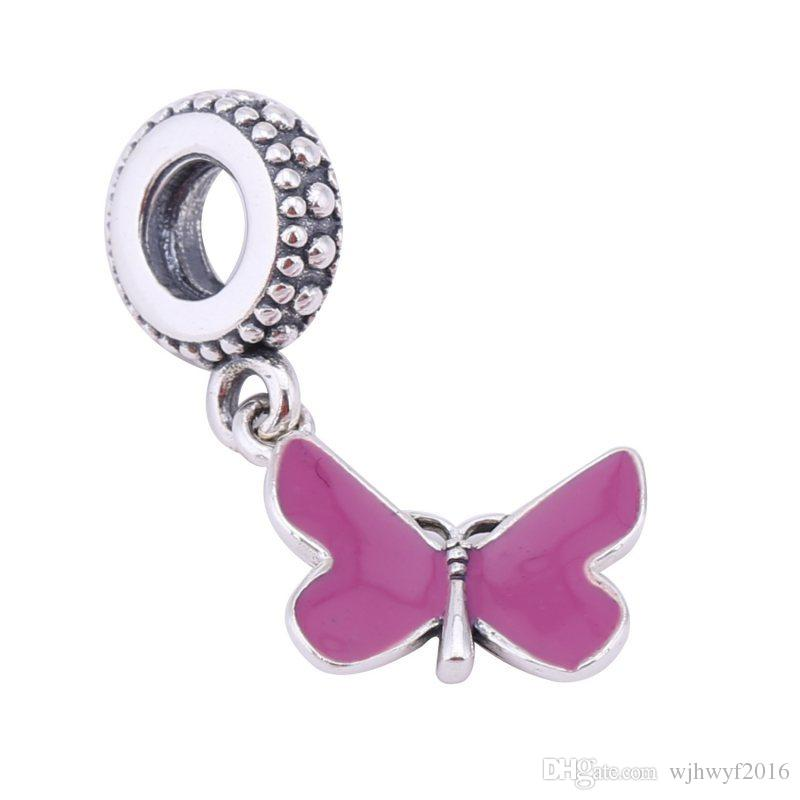 2017 mother's day gift purple enamel pave butterfly dangle charms 925 sterling silver pendant jewelry fits beads bracelet DIY Accessories
