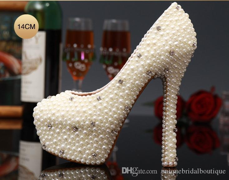 2021 Pearls Wedding Shoes in High Heels 14cm 12cm 10cm 8cm 6cm 3cm Crystals Bridal Party Shoes Fast Shipping Prom Shoes