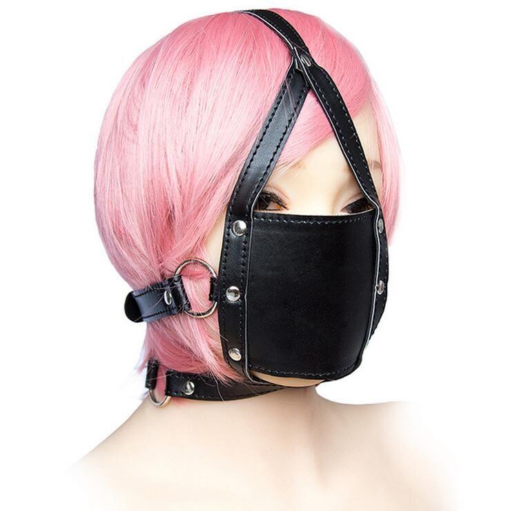 Hot Sale Sex Mouth plug Harness Hood Bondage Mask ball gag mouth Leather Sex Toys