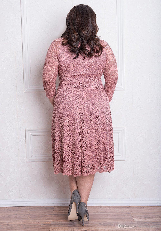 Impresionantes vestidos de encaje de talla grande con manga larga con cuello en v Hasta la rodilla Vestidos de noche Una línea de vestido de fiesta corto y barato