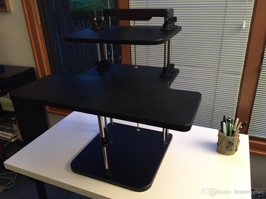 Sit / Stand Desk Riser Tre livelli regolabili in altezza Leggero Stand Up Laptop Desk / Table Supporto notebook / monitor