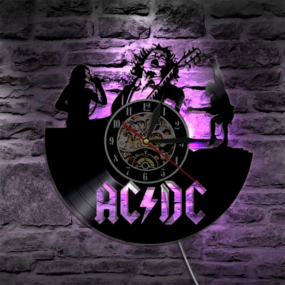 Ac/Dc Rock Band Wall Vinyl Clock Led Wall Lighting Color Changing ...