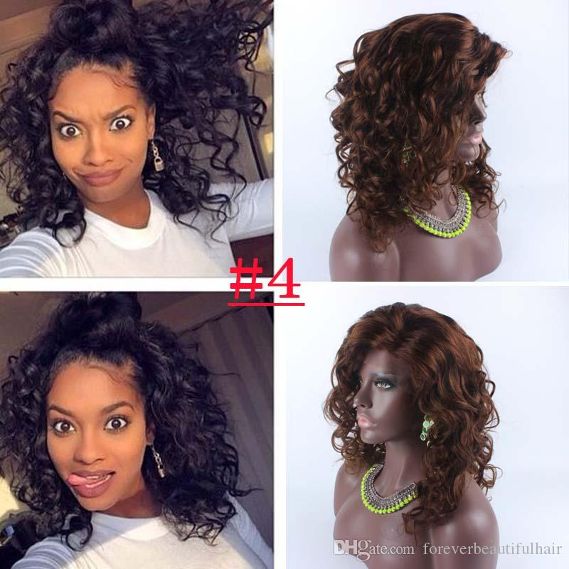 16inch #4 Brown Brazilian Hair Lace Front Wig With Baby Hair Glueless Wet and Wavy Lace Wigs For Black Women Wavy Wigs