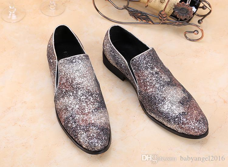 Luxe New Mode Chaussures Hommes d'or imprimés giltter Mocassins Hommes Real Photos Hommes Chaussures Grande Taille Robe 38-46