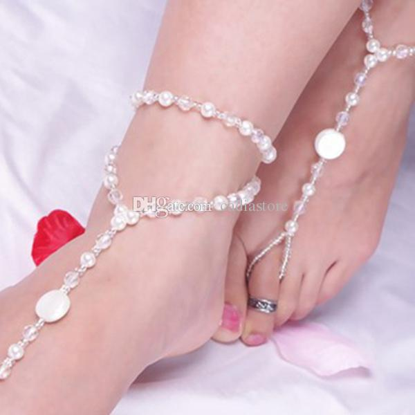 Foot Jewelry Pearl Anklet Chain Barefoot Sandal Bridal Beach Ankle Bracelet C00322 CAD