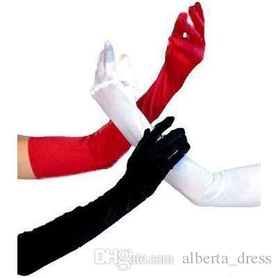 Cheap Vintage Silk Satin Red/Black/White Bridal Gloves Long Fingers Bride Opera Above Elbow Wedding Accessories limit one item purchase