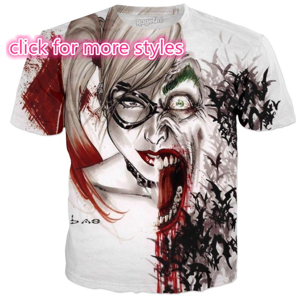 e92bd75a2ced New Fashion Couples Men Women Harley Quinn Joker 3D Print No Cap Casual T  Shirts Tee Tops Wholesale S 5XL T17 Crazy Shirt Designs A Shirt A Day From  Yy0212