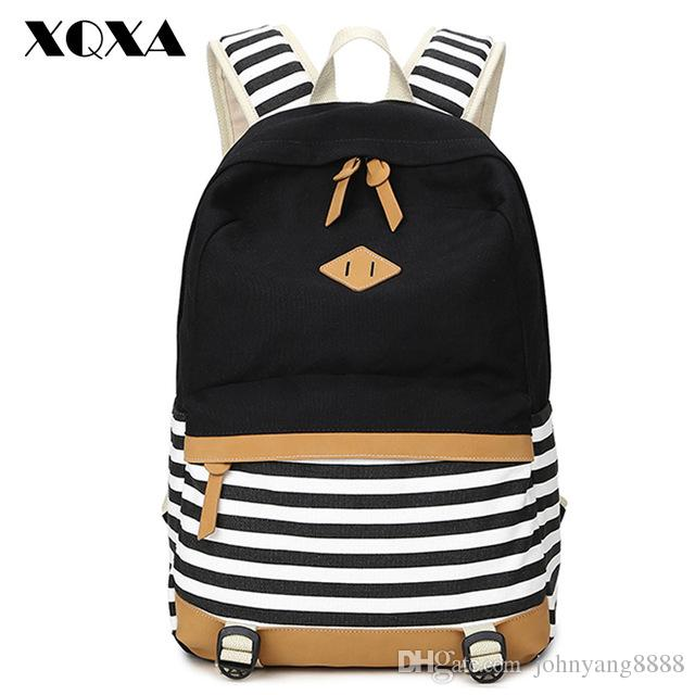 085a2d45a8ce XQXA Preppy School Bags Backpack For Girls Teenagers Cute Canvas Striped  Printing Women Backpack Bag Female Escolar Mochilas Fashion Bags Laptop  Messenger ...