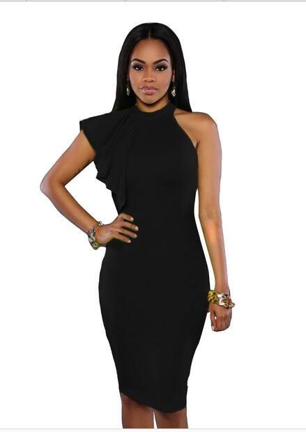 In 2017 a new single shoulder high necked sleeveless sexy hollow bag hip skirt flounce Pencil Dress 61094