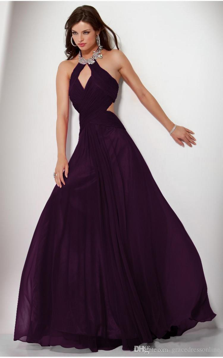 New Arrival Sexy Dark Purple Prom Dress A Line Halter Crystals
