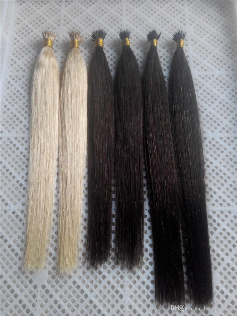 """High Quality 14""""-28""""Nano Rings INDIAN REMY Human Hair Extensions 100g/pk 1g/s Color #1 Jet Black Nano Tip Hair Extensions"""