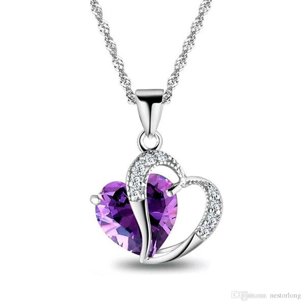 2016 продать как горячие пирожки 6 цветов высший класс леди мода сердце кулон ожерелье аметист Кристалл ювелирные изделия