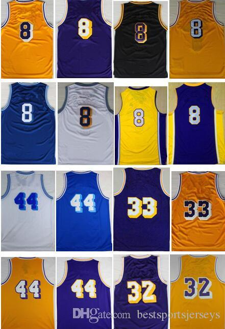 a0fcd0b48 ... 2017 Retro 8 Kobe Bryant 32 Magic Johnson Basketball Jersey 33 Kareem  Abdul Jabbar 34 Shaquille ...