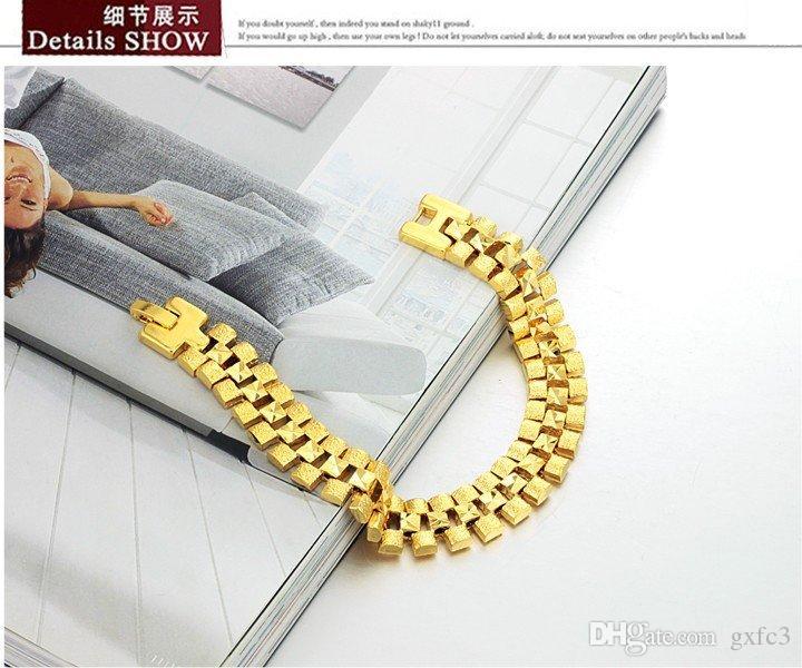 Fine JEWELRY Box Packing! Brand Design 18K gold plated Chunky bracelets 12mm X 18.5cm luxury Wedding Jewelry, 742