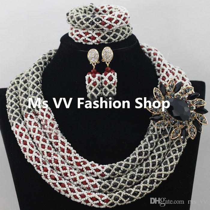 2018 African Jewelry Sets 2017 Red Black Crystal Women Necklace ...