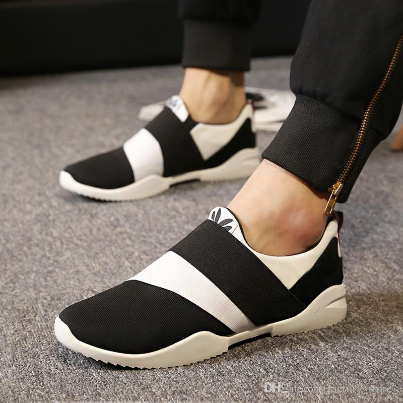 2019 Spring Newest Men Shoes Breathable Run Canvas Shoes Men Casual Shoes Slip-On Trend Y3 Loafers Flats Mens Trainers Black Blue Burgundy