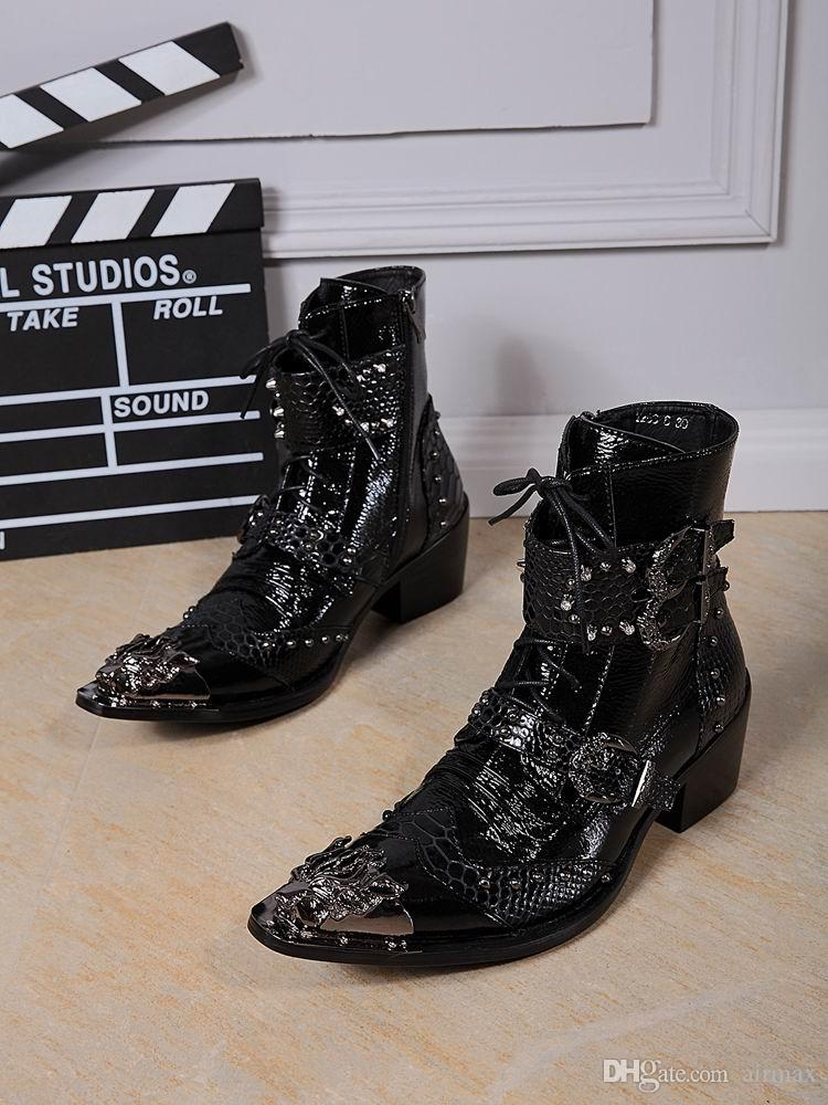 Fashion Designer Men High Top Dress Shoes Trend Of 3 Buckles Lace Up Short Ankle Martin Boot Leisure Leather Sneaker Pattern